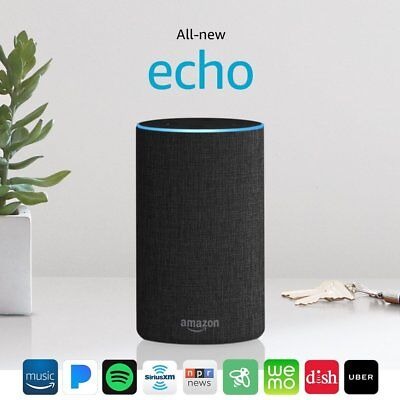 Amazon Echo 2nd Generation 2017 w/ Improved sound by Dolby - Charcoal Fabric NEW