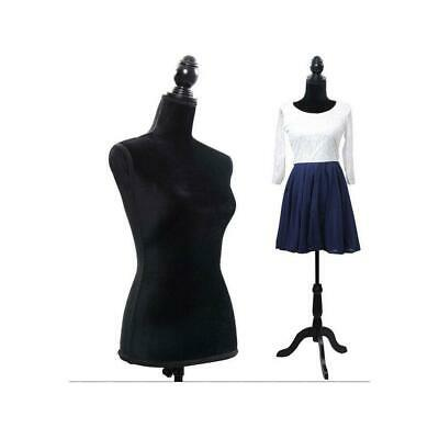 Adjustable Female Mannequin Dress Torso Clothing Display W Tripod Stand Black