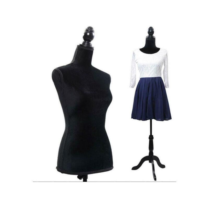 Adjustable Female Mannequin Dress Torso Clothing Display /w Tripod Stand Black