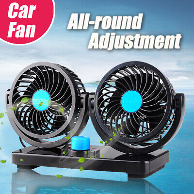 12V 360 Rotation All Around Adjustable Car Fan Twin Head Air Fans Silent Cooler