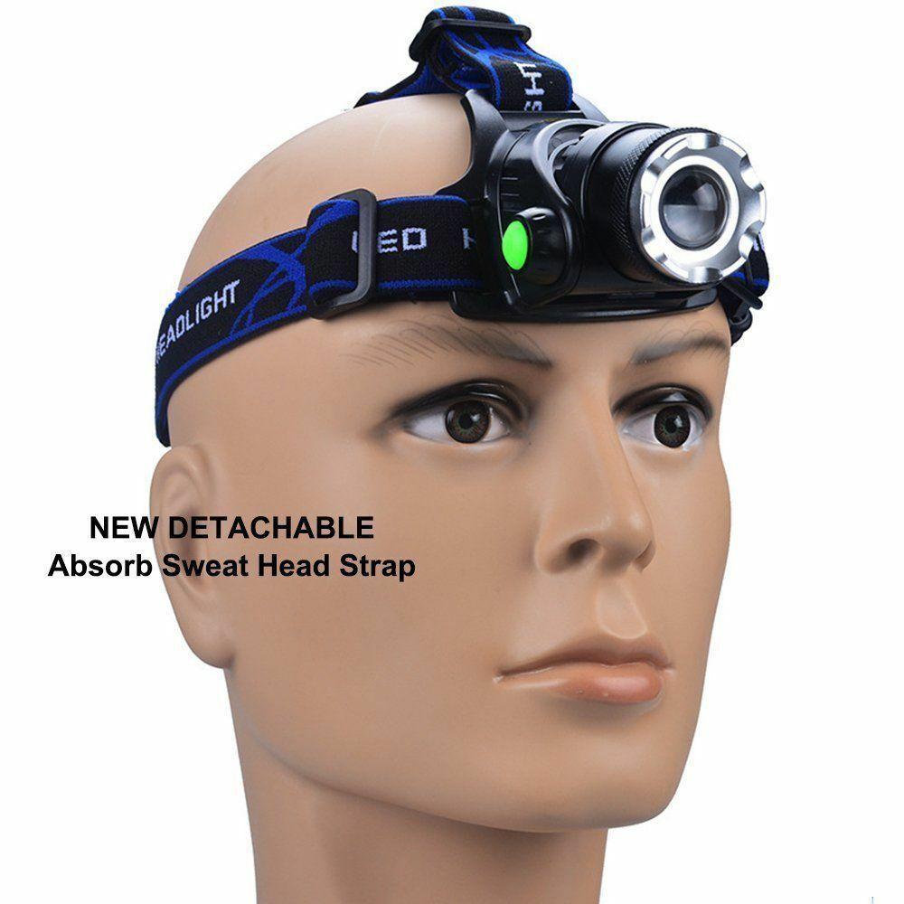 900000LM Rechargeable Head light T6 LED Tactical Headlamp Zoomable+Charger+18650 Camping & Hiking