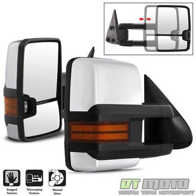 PAIR 1999-2006 Silverado Sierra Manual Trailer Tow Towing Mirrors Chrome
