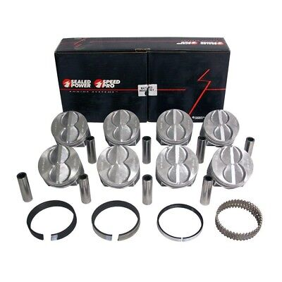.060 SPEED PRO Chevy 350 Hypereutectic Coated Flat Top Pistons+MOLY Rings 9.3:1
