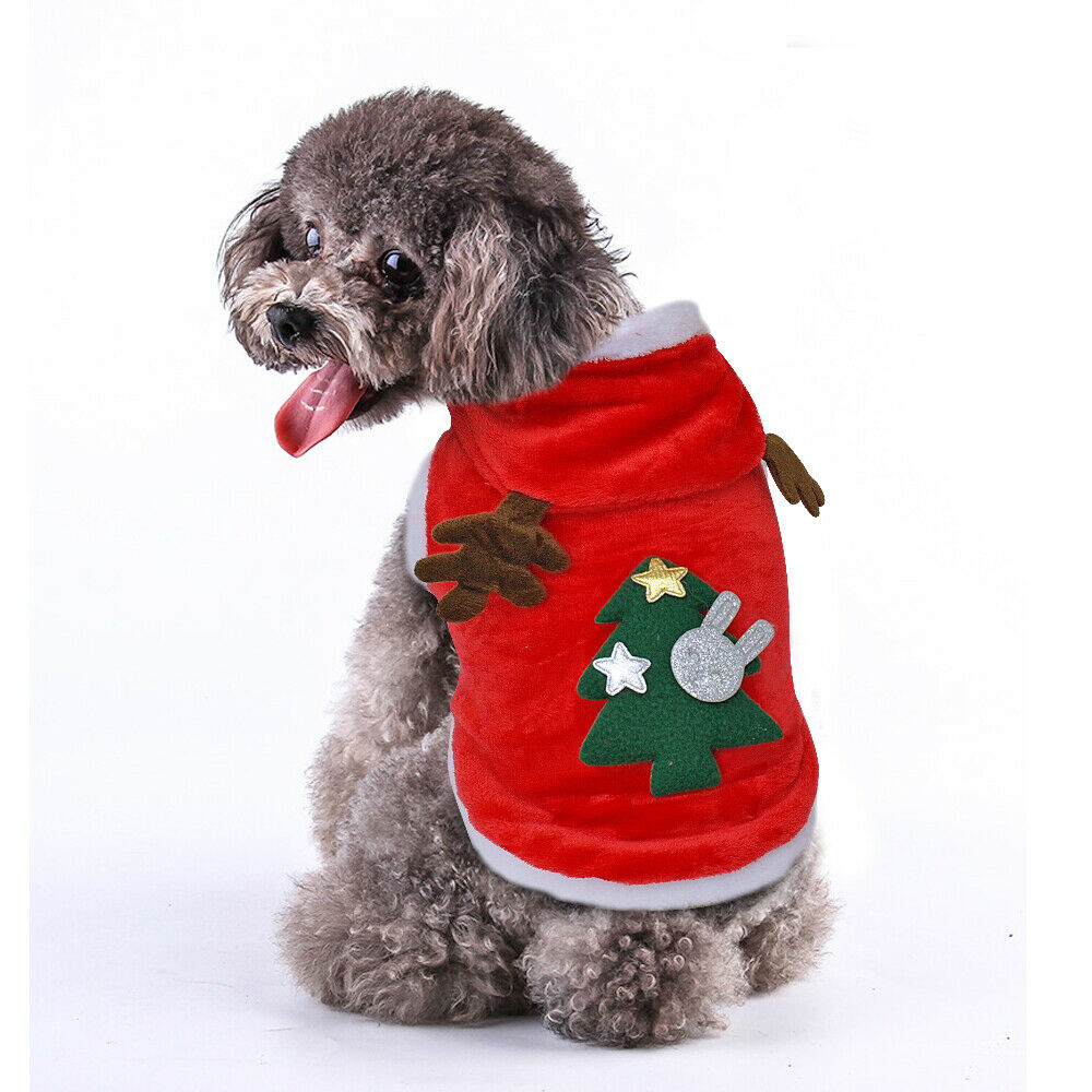 Cat Dog Christmas Outfit Costumes Reindeer Hoodie Jacket Pet Xmas Clothes Coat 3