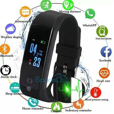 Waterproof Smart Watch Fitbit Heart Rate Fitness Tracker Bluetooth Monitor BLK