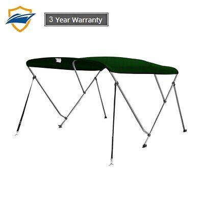 3 Bow Bimini Boat Top Cover with storage boot, Forest Green, w/support poles 3 Bow Bimini Top Storage
