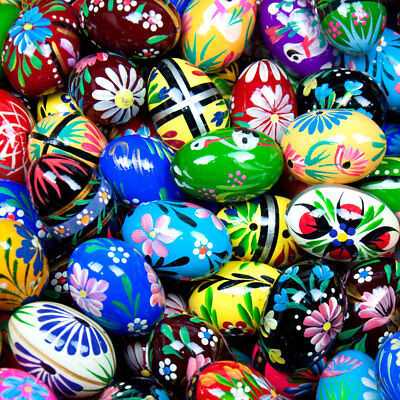 Decorated Easter Eggs (Assorted Easter Eggs Pisanki Pysanky Hand Painted Wooden Polish Egg )