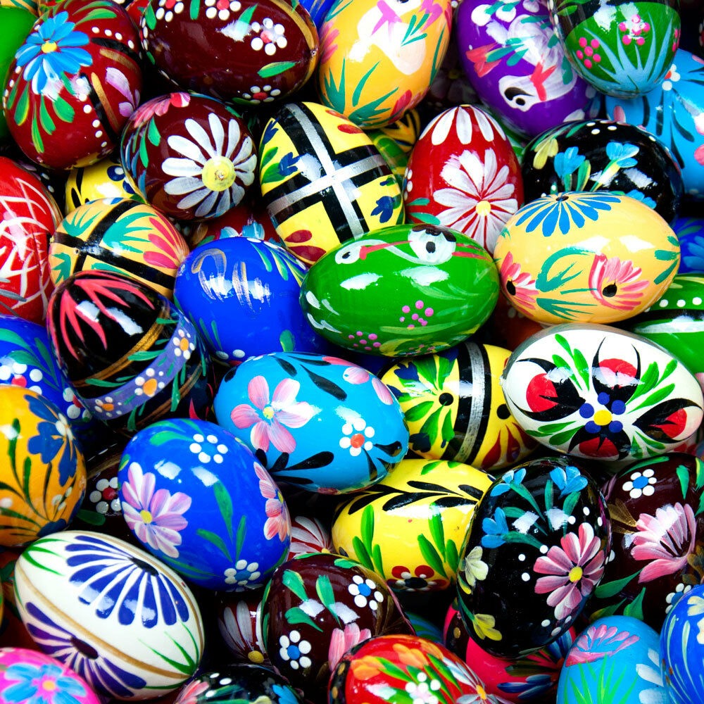 Assorted Easter Eggs Pisanki Pysanky Hand Painted Wooden Pol