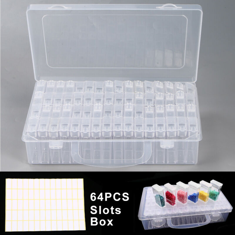 64 Slots Bottles Diamond Painting Storage Box Plastic Rhinestone Holder Containe