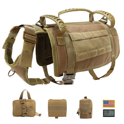 Tactical Military Dog Harness No Pull MOLLE POLICE K9 Training German Shepherd Boxer German Shepherd
