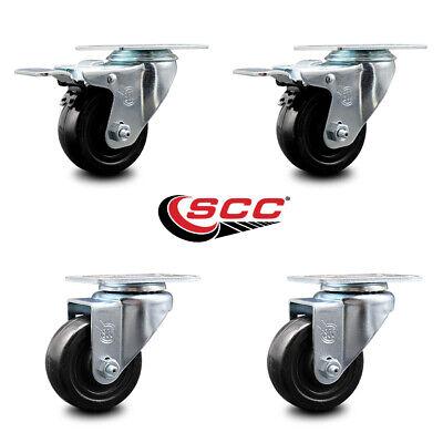 Hard Rubber Caster Set Of 4 W3 Wheels - 2 Wttl Brakes 2 Swivel
