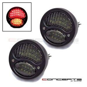 Pair Of Black Vintage LED Stop / Tail Lights - Classic Hot Rod Custom Car projec