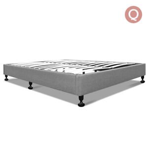 Tomi Grey Fabric Wooden Bed Frame Queen Size