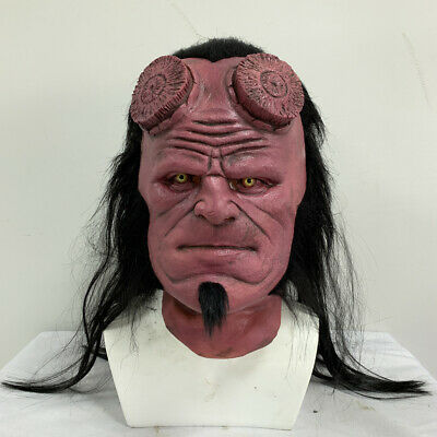 US! 2019 Hellboy 3 Cosplay Mask With Wig Right Hand Glove Costume Prop Halloween