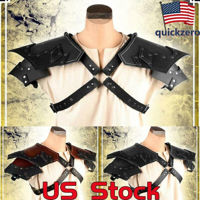 Adult Halloween Costume Accessories Viking Vintage Leather Double Shoulder Armor