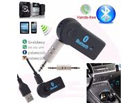 Aux Bluetooth in-car adapter handsfree calls (can be linked to smart phone and other devices)