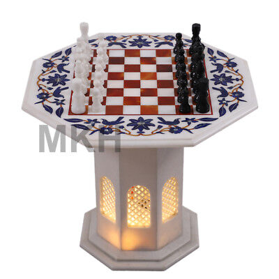 "22"" Marble Chess Board Set Vintage Inlay Stone Pieces Coffee Table Marquetry Art"