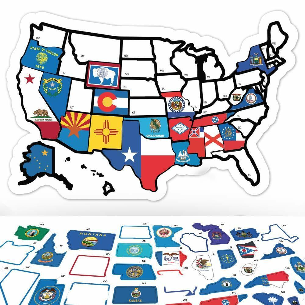 rv state sticker travel map 14 x