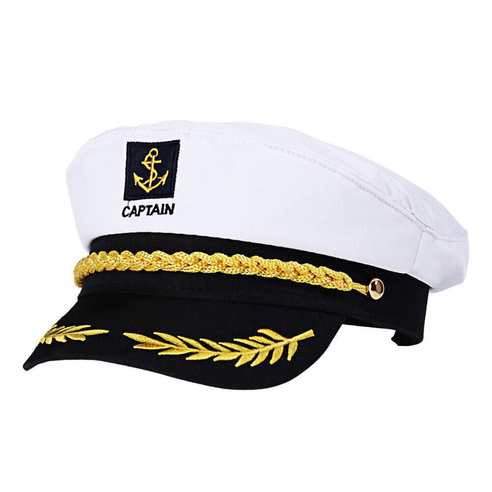 Commercial Quality Deluxe Mens Captain Skipper Yacht Hat Sizes 57-60 cm