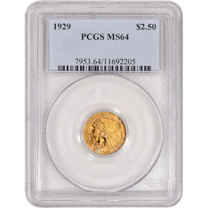 US Gold $2.50 Indian Head Quarter Eagle - PCGS MS64 - Random Date