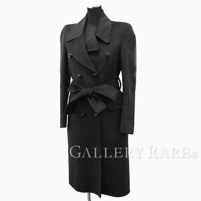 GUCCI Long Pea Coat Black Wool Angora Women