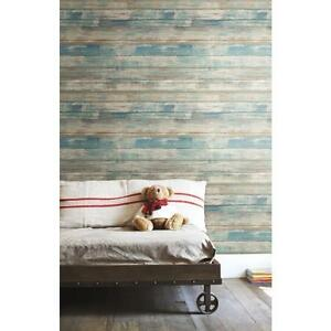 Roommates Rmk9052wp Blue Distressed Wood Peel And Stick Wall Decor