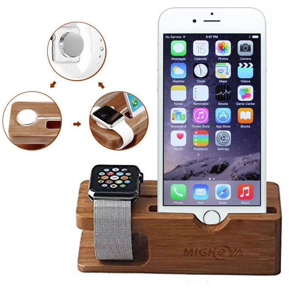 For Apple Watch iWatch iPhone Bamboo Charging Dock Station