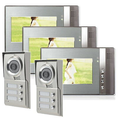 3 Familienhaus Farb Video 2 Außenstationen Türsprechanlage Monitor 7 Zoll