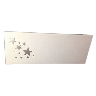 50 Silver Stars Tent Style White place cards 4.25