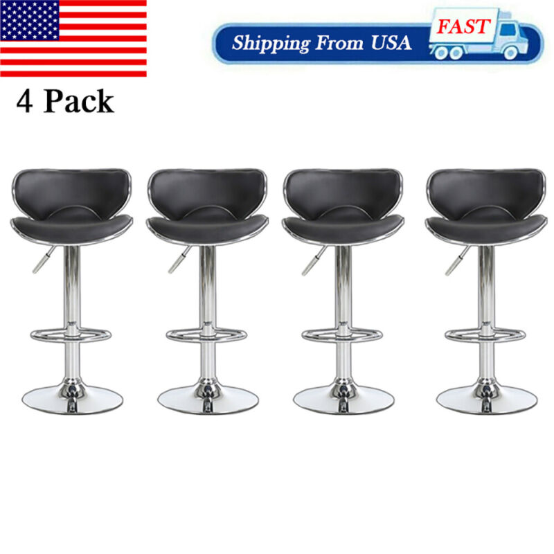 4pcs Height Adjustable Bar Stools Counter Dining Swivel PU Leather Pub Chairs