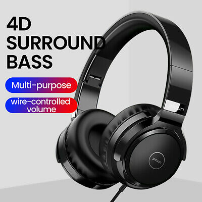 3.5mm Headset Wired Studio Stereo Earphone Over Ear Earbuds Headphones w/Mic US
