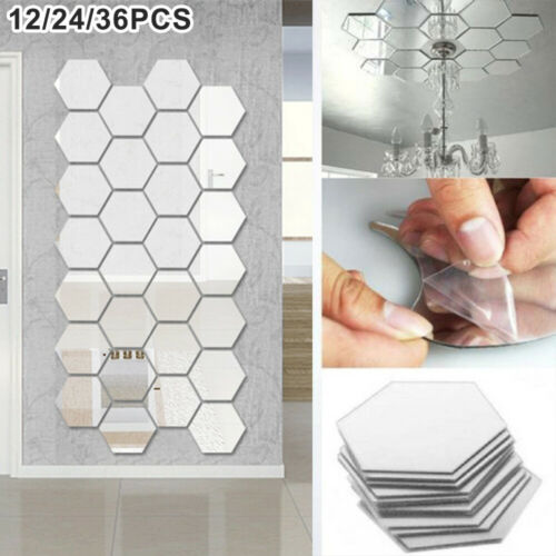 Home Decoration - 36 Acrylic Mirror Effect Tile Wall Sticker Room Decor Stick On Art Bathroom DIY