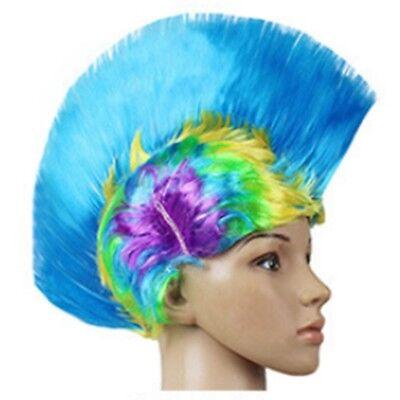 Shiny Cockscomb Hair Punk Hair Cap Bright Wig shiny rainbow sky blue - Rainbow Bright Wig