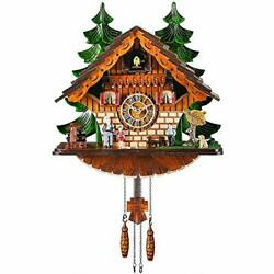 Cuckoo Clock Traditional Chalet Black Forest House Handcrafted Wooden Wall Home