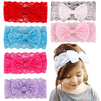 7PCS Kids Girl Baby Headband Toddler Lace Bow Flower Hair Band Accessories - Baby Flower Headband