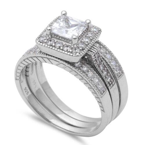 3.75 PRINCESS CUT CZ .925 STERLING SILVER WEDDING RING SET WOMEN/'S SIZE 4-11