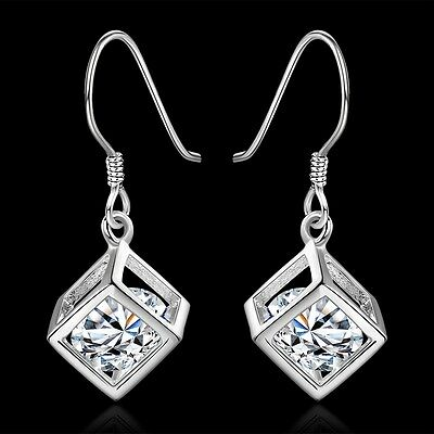 Fashion Women's 925 Sterling Silver Crystal Rhinestone Zircon Earrings Stud Gift