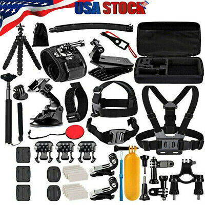 50 Accessories Kit for Gopro Hero 8 7 6 Session Black Tripod Action Camera Case