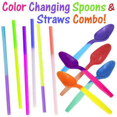 Color Changing Party Spoons & Straws Combo! Reusable Plastic Drinking Favors New (Colored Straws)