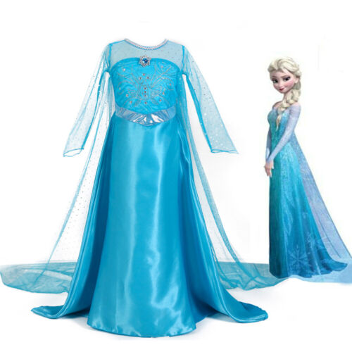 Girls Frozen Elsa Dress Princess Party Dresses Xmas Cosplay