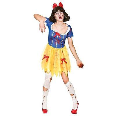 Ladies Zombie Snow White Fairytale Nightmare Halloween Fancy Dress Women Costume ()
