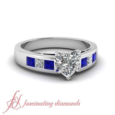 1 Ct Heart Shaped VS2-E Color Diamond & Blue Sapphire Engagement Ring 14K