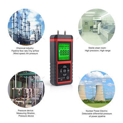Digital Manometer Differential Air Pressure Meter Lcd Gauge High Kpa 2.999 Psi