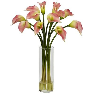 Nearly Natural Calla Lily - Nearly Natural 1187-PK - Mini Calla Lily Silk Flower Arrangement - Pink