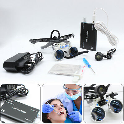 2.5x 420mm Pro Dental Surgical Loupes Optical Glass With Head Lamp Usa Sales
