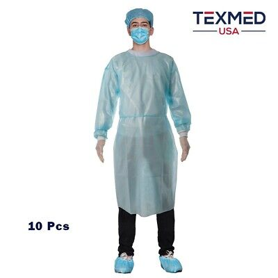 10pcs Aami Level 2 Disposable Isolation Gown With Knitted Cuff Dental Medical