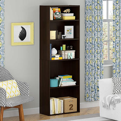 New 5 Shelf Bookcase Cherry Home Office Furniture Adjustable Shelving Storage