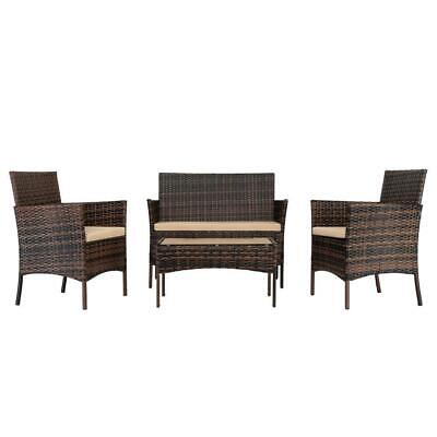 4 PCS Outdoor Patio Rattan Wicker Sofa Sectional Furniture Set Cushioned Lawn