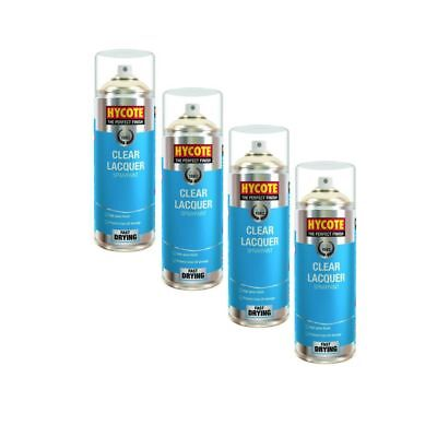 4x Hycote XUK0232 Clear Lacquer Spray Paint 400ml Aerosol Fast-Drying High Gloss
