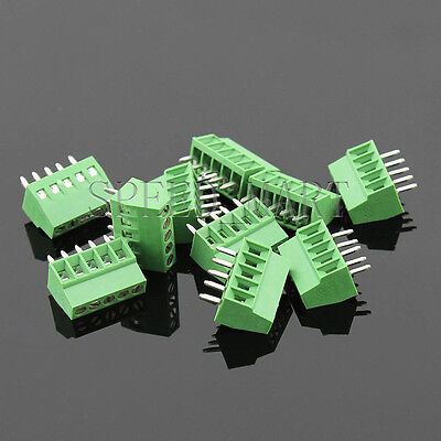 10 Pcs 5 Poles5 Pin 2.54mm 0.1 Pcb Universal Screw Terminal Block Connector